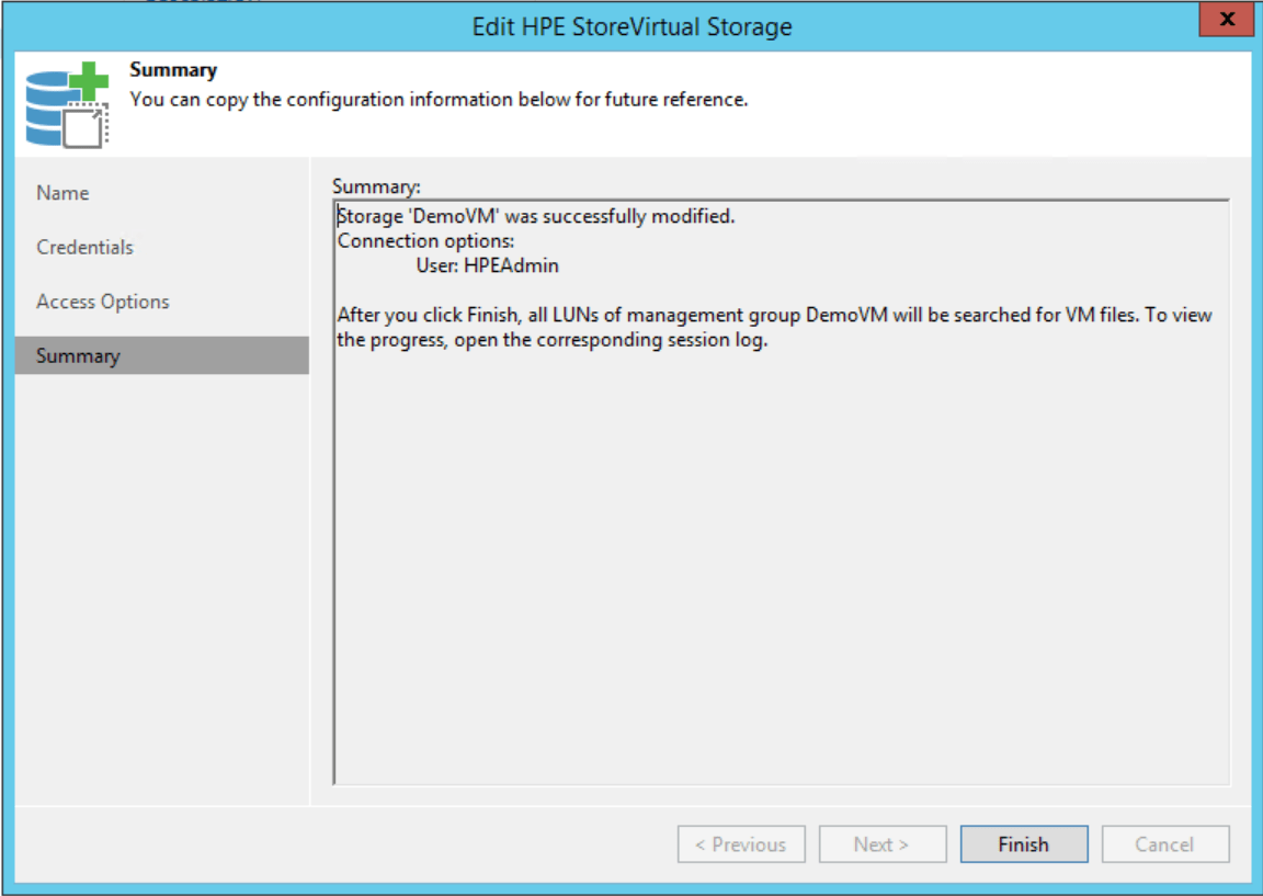 HPE StoreVirtual Integration summary