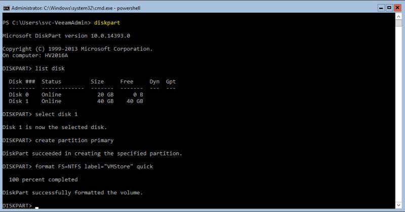 Hyper-V 2016 Storage diskpart format disk