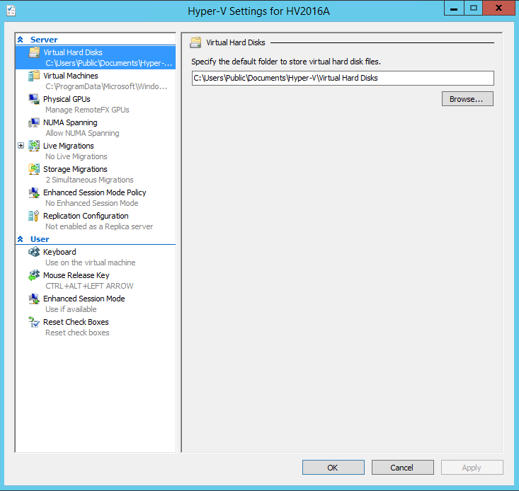 Connect Hyper-V 2016 Server Settings