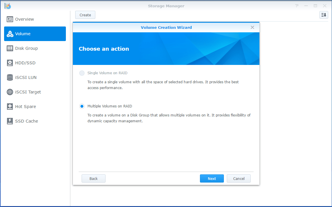 Synology LUN Multiple volume
