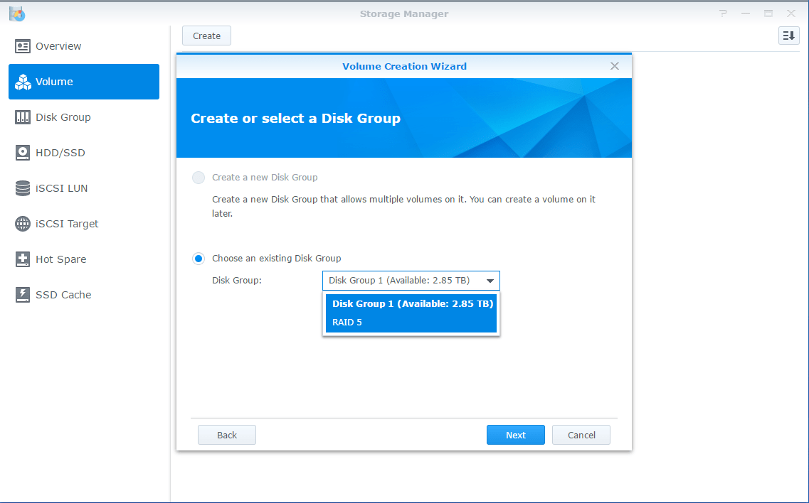 Synology LUN Disk Group