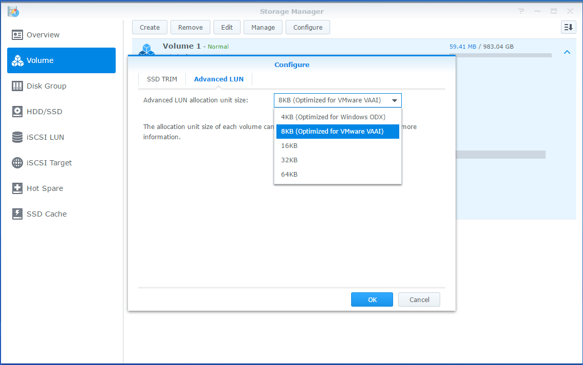 Synology LUN Advanced settings
