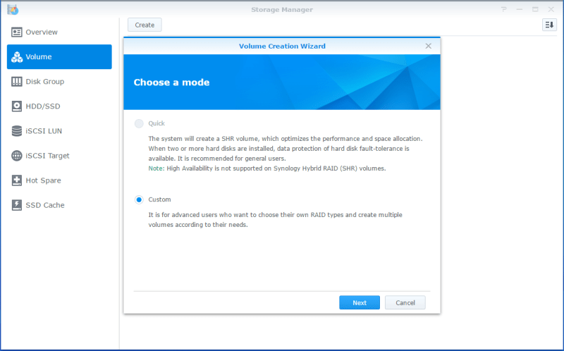 Synology LUN Create Volume