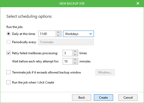 Office 365 Backup Specify schedule