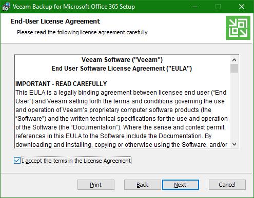 Backup Microsoft Office 365 eula