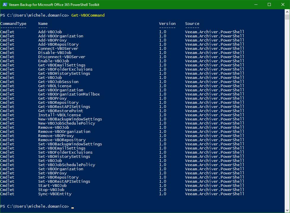 Backup Microsoft Office 365 PowerShell commands