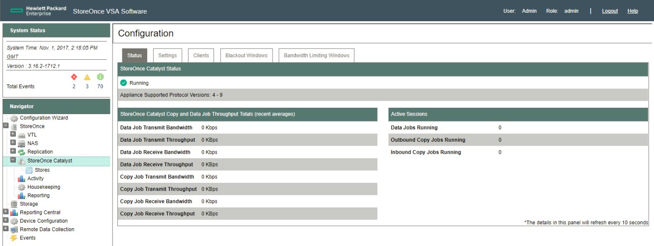 HPE StoreOnce Catalyst status