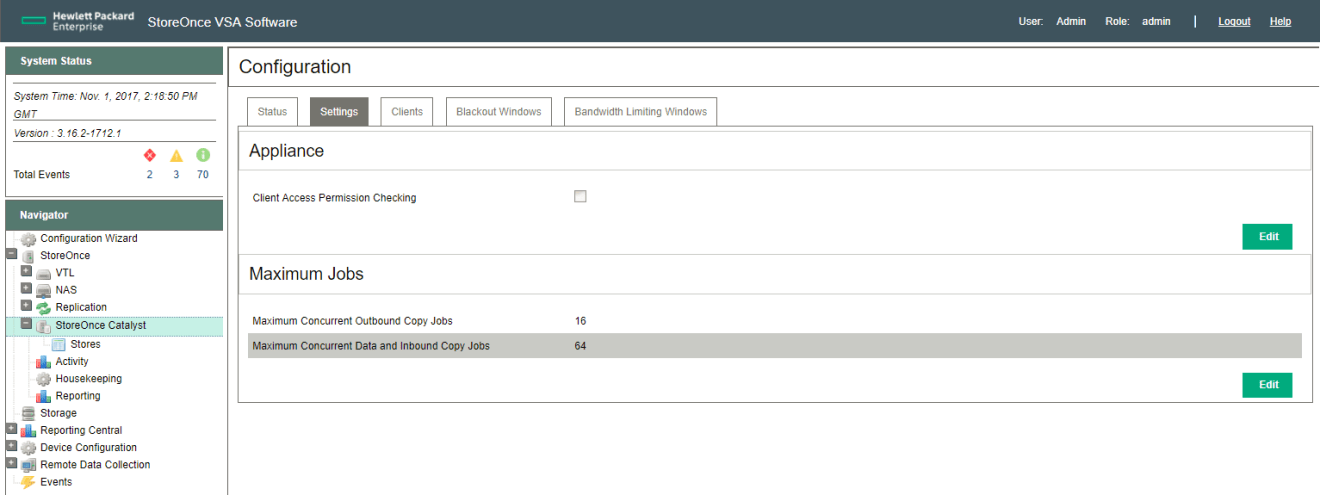 HPE StoreOnce Catalyst settings