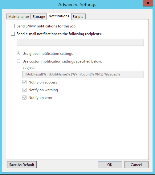 Veeam Backup Copy Job Notification