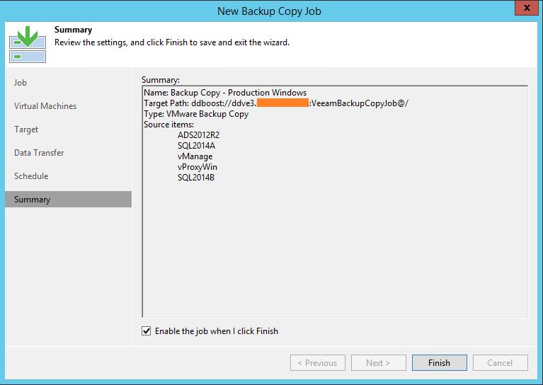 Veeam Backup Copy Job summary