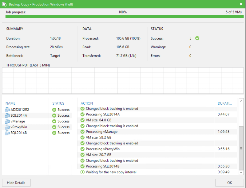 Veeam Backup Copy job log