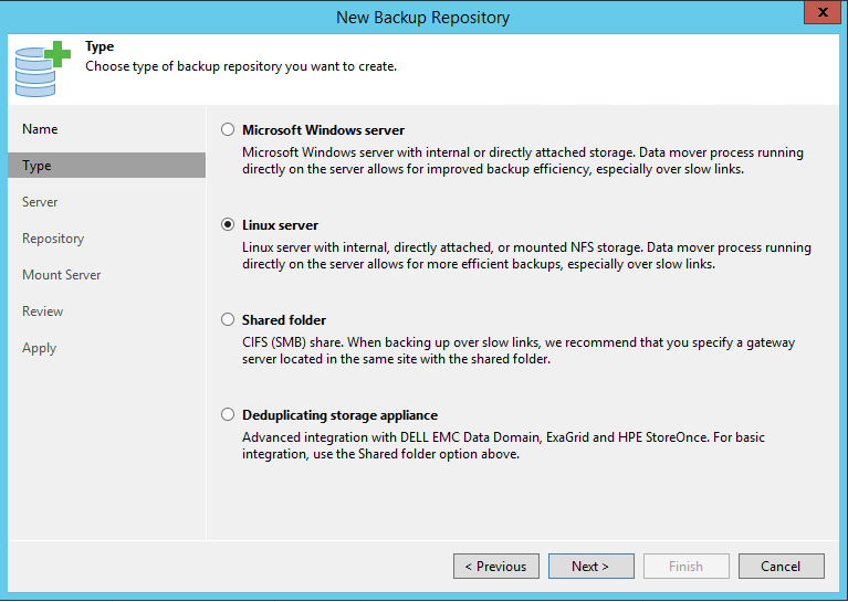 Linux Backup Server Type