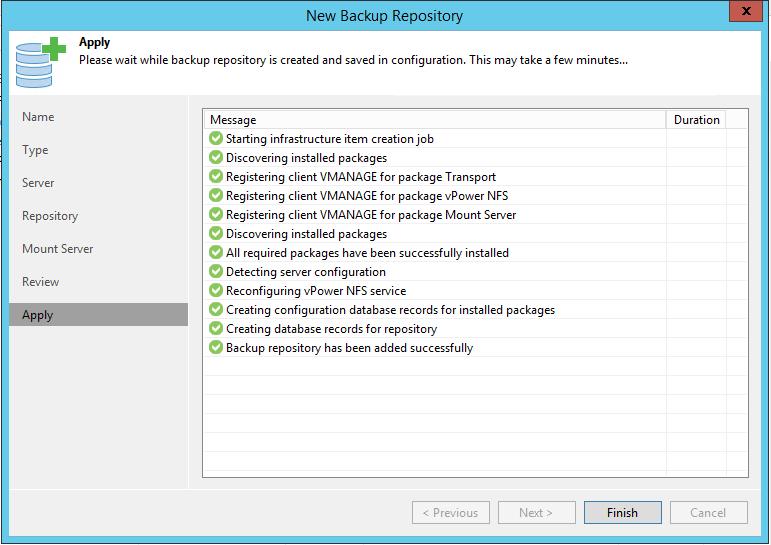 Linux Backup Server install summary