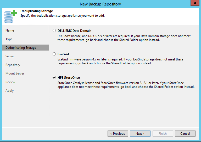 HPE StoreOnce integration deduplicating storage