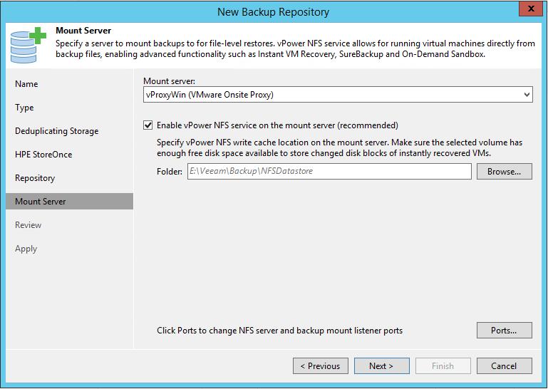 HPE StoreOnce integration veeam mount server