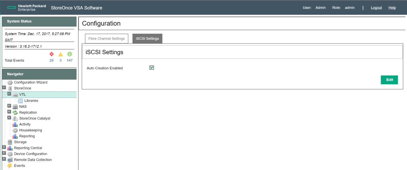 HPE StoreOnce VTL configuration