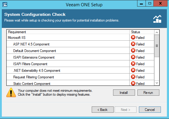 Veeam One prerequisites check