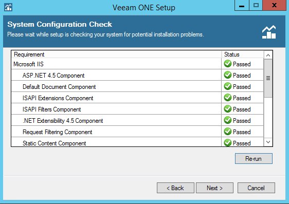 Veeam One prerequisites pass