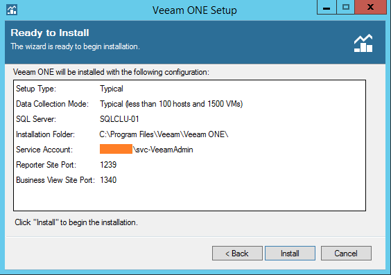 Veeam One install summary