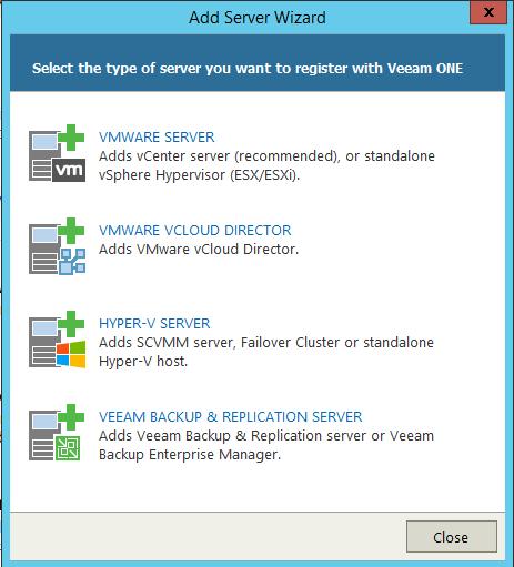 Veeam One Monitor Add server