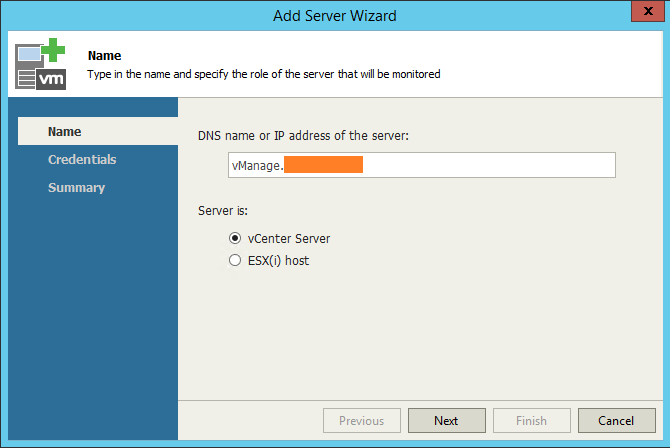 Veeam One Monitor add vCenter