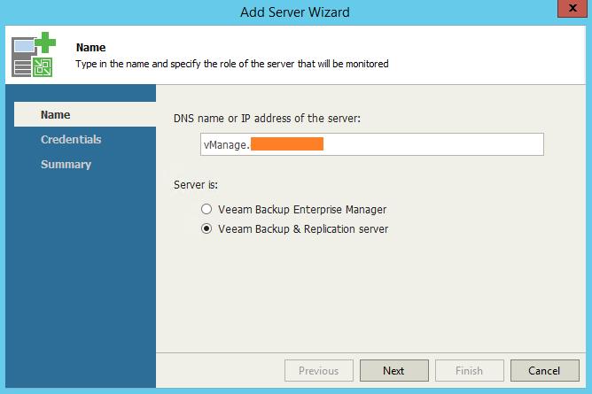 Veeam One Monitor Add VBR Server
