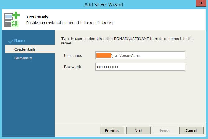 Veeam One Monitor Add VBR Server Credentials