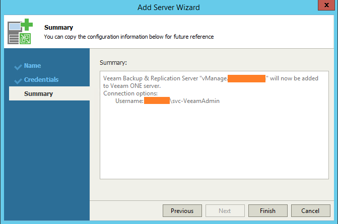 Veeam One Monitor Add VBR Server summary