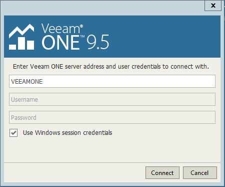 Veeam One Configuration login