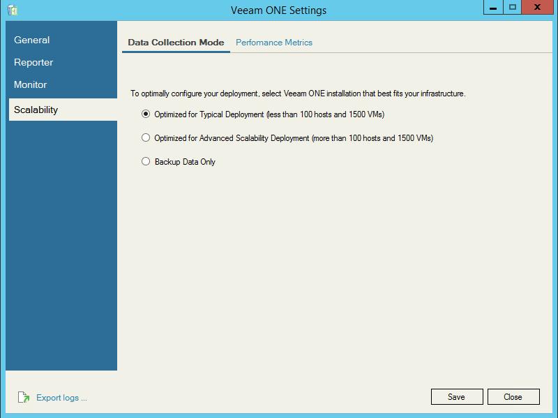 Veeam One Configuration scalability settings