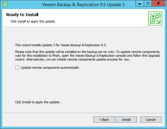 Upgrade Veeam Backup Install