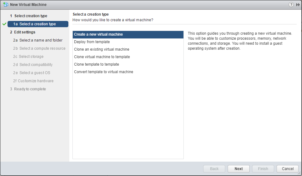 Windows Server 2016 new Virtual Machine