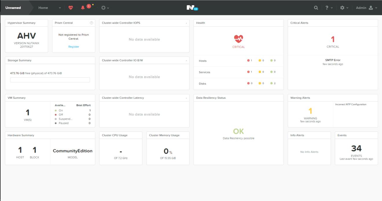 domalab.com Nutanix Prism Login dashboard home