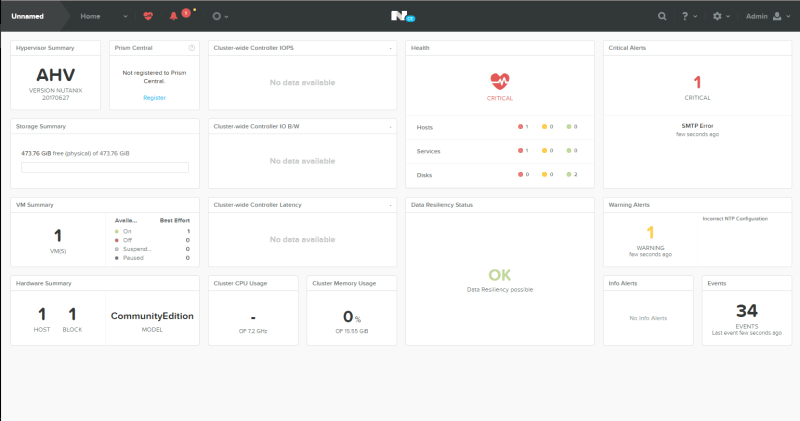 domalab.com Nutanix Prism Login dashboard home