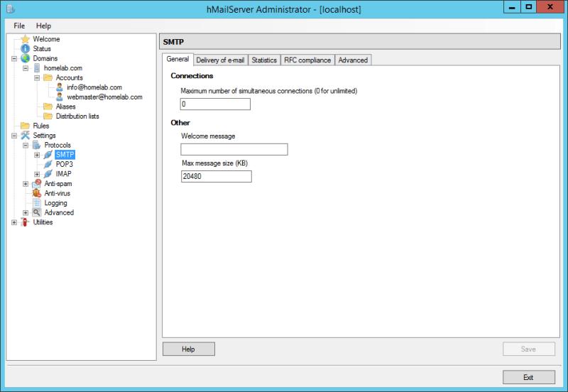 domalab.com Configure hMailServer enable SMTP