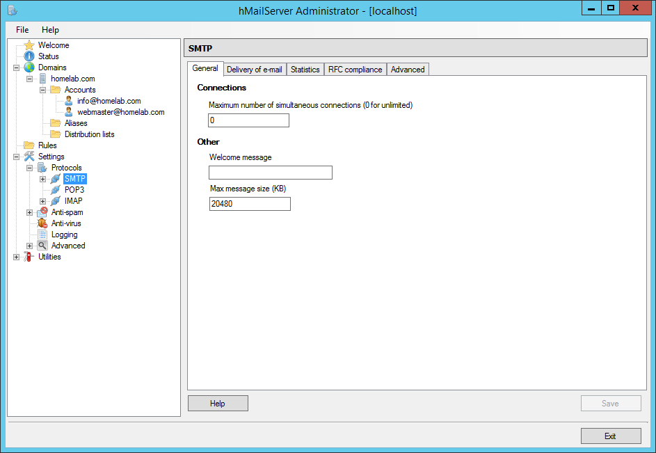 domalab.com Configure hMailServer enable SMTP