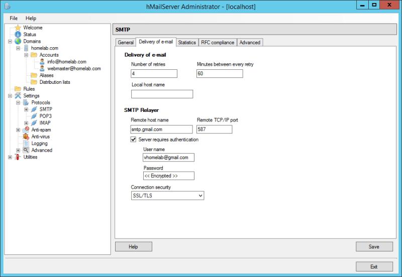 domalab.com Configure hMailServer Gmail SMTP relayer