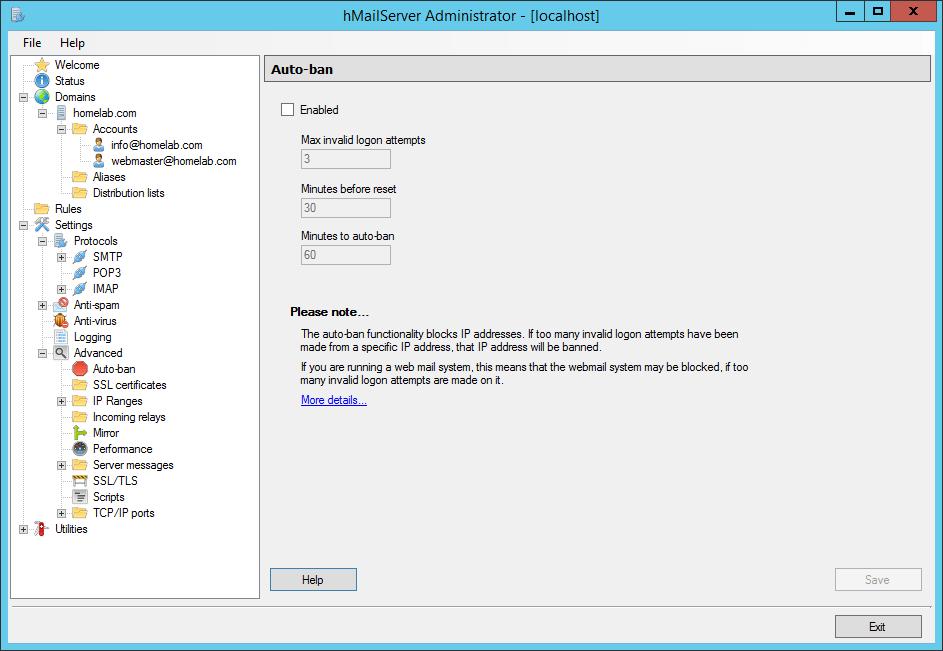 domalab.com Configure hMailServer disable auto-ban