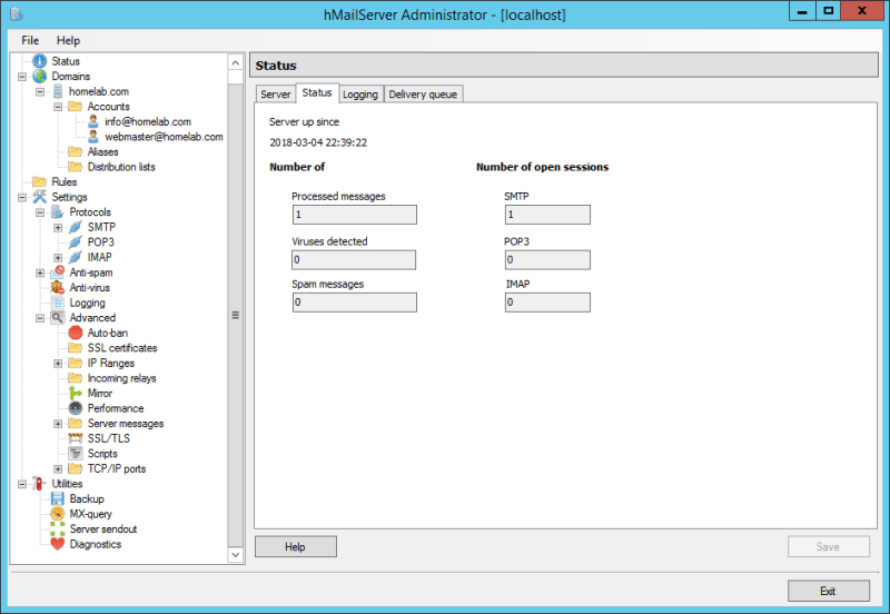 domalab.com Configure hMailServer smtp status