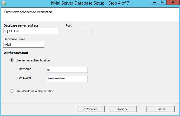 domalab.com install hMailServer sql server details