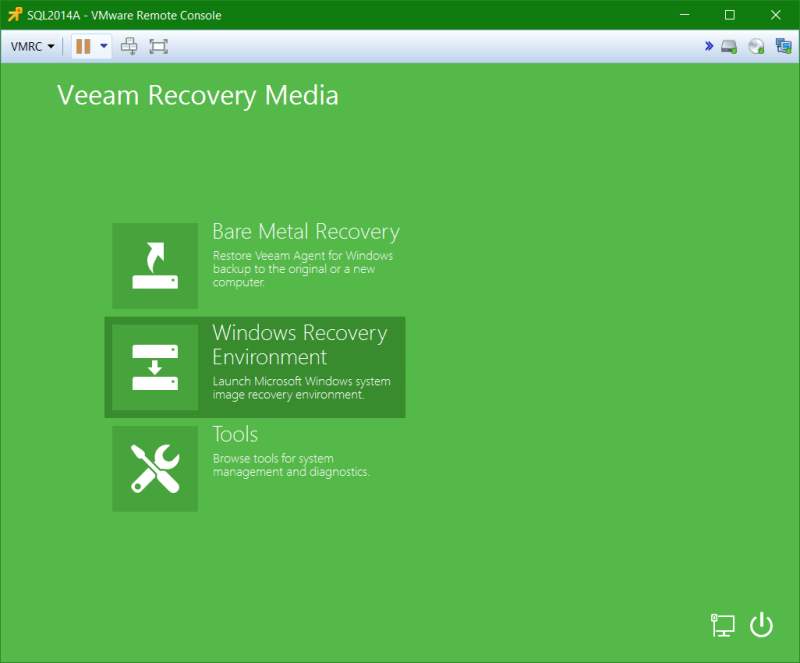 domalab.com Veeam Recovery Media Menu