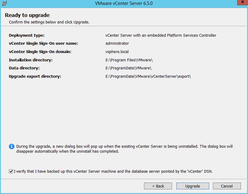 Domalab.com vCenter Upgrade ready to upgrade
