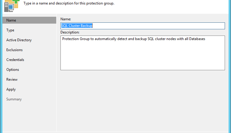 Backup SQL Cluster in a Fail-over scenario with Veeam
