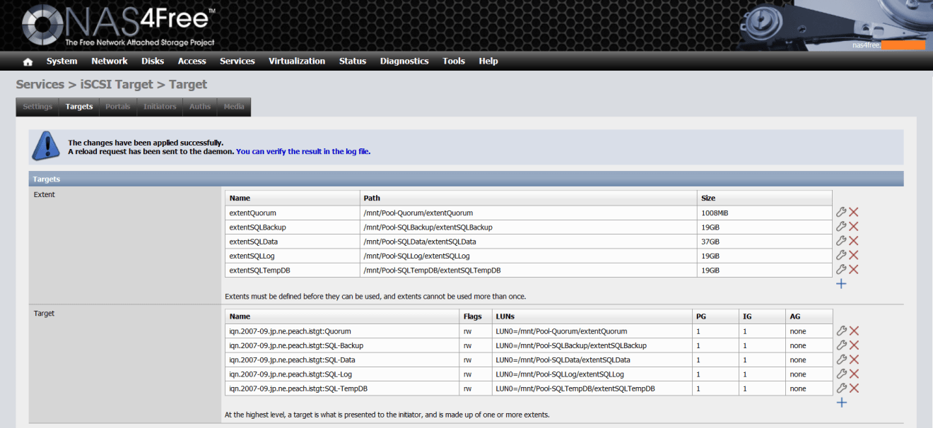 domalab.com NAS4Free Pool storage extent configuration