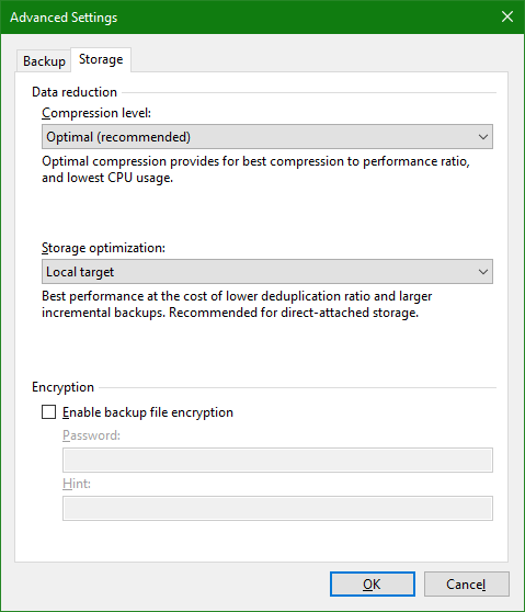 domalab.com OneDrive Windows Backup storage settings
