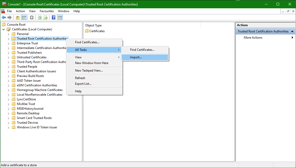 Enable vCenter Trusted Root CA Certificate for Web Browsers » domalab