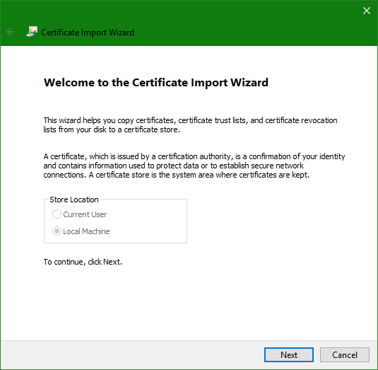 domalab.com Trusted Root CA Certificate import wizard