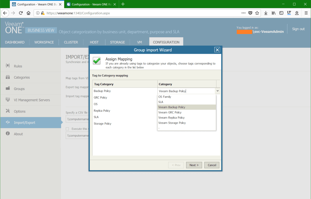 domalab.com Manage vSphere Tags Veeam One Group Mapping