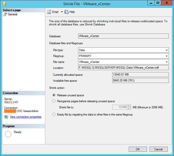 domalab.com shrink vCenter database Data file size