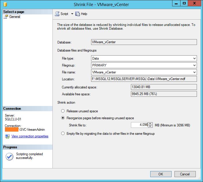 domalab.com shrink vCenter database data file release unused space